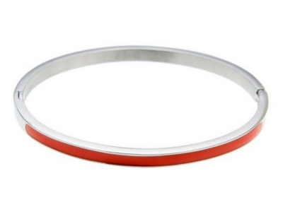 Dames bangle armband zilver oranje