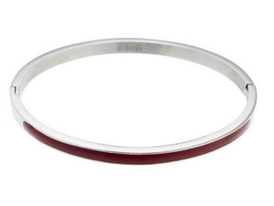 Dames bangle armband zilver rood
