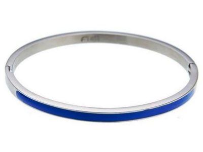 Dames bangle armband zilver blauw