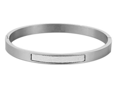 Dames armband staal inleg wit